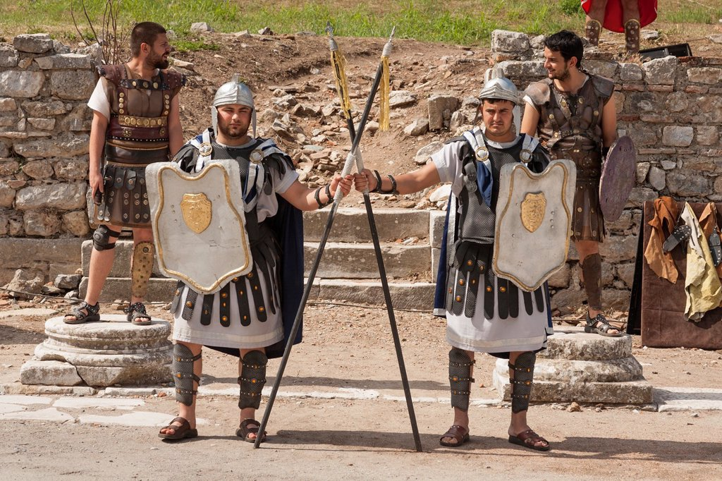 Stock Photo: 1566-1052020 Actors reenacting a Roman scene at Ephesus, Ephesus, Turkey