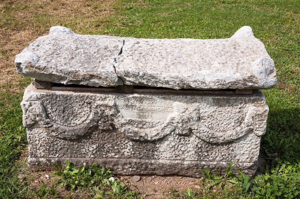 Stock Photo: 1566-1052021 Carved stone sarcophagus exhibit, Ephesus, Turkey