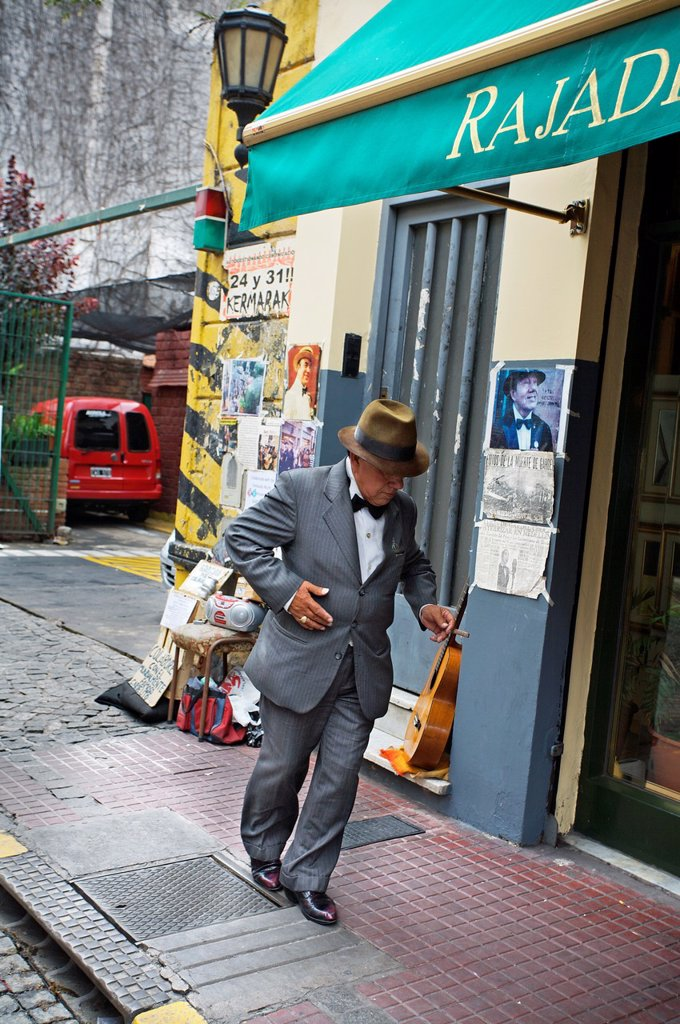 Stock Photo: 1566-1052262 Showman at the San Telmo antique street market, Buenos Aires, Argentina.