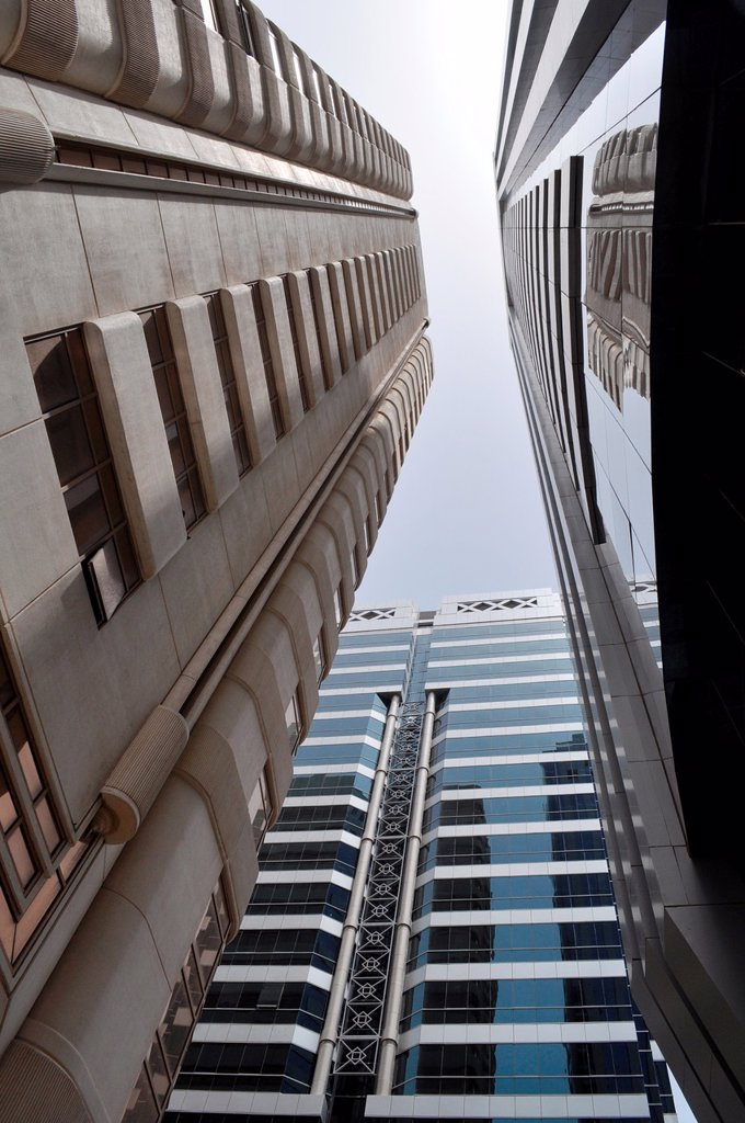 Abu Dhabi, United Arab Emirates: skyscrapers in the city's center : Stock Photo