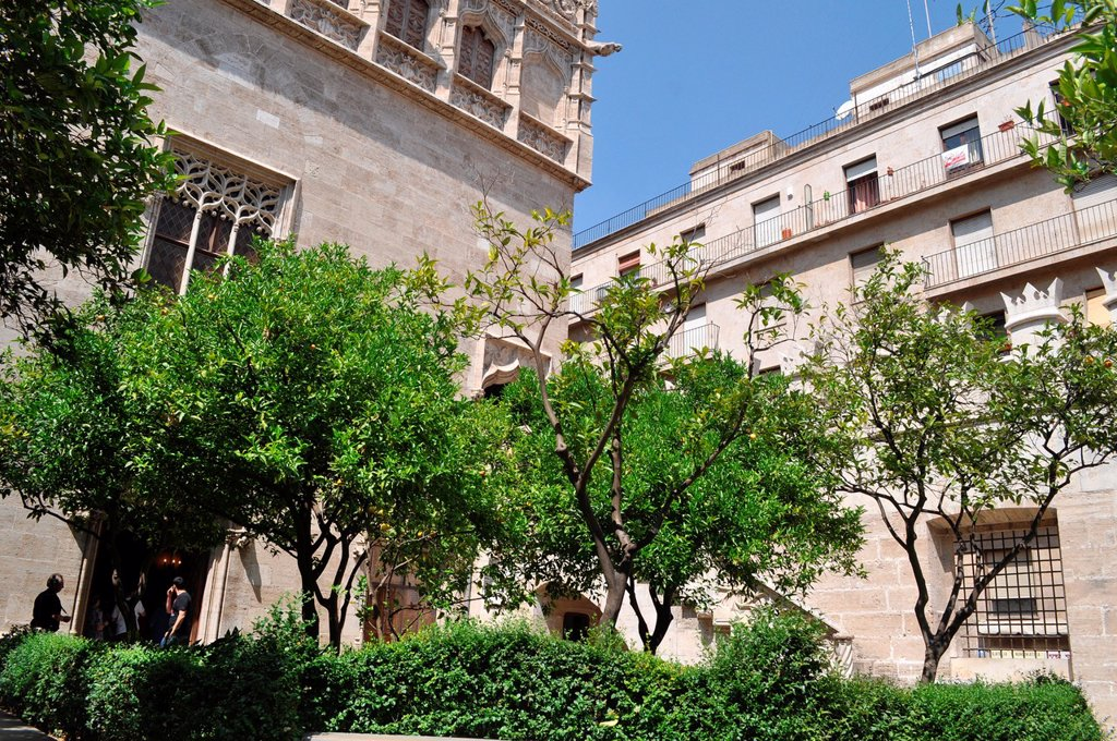 Valencia, Spain: the inner garden of Lonja de la Seda : Stock Photo