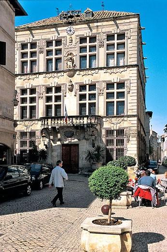 Town hall facade. Tarascon. Bouches-du-Rhône. Provence. France. : Stock Photo