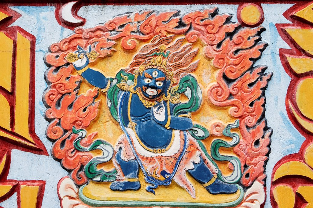 Stock Photo: 1566-1054171 Bas-relief of Vajrapani, in Dag Shang Kagyu, a buddhist temple in Panillo, near Graus  Ribagorza region  Huesca  Aragón, Spain  Europe