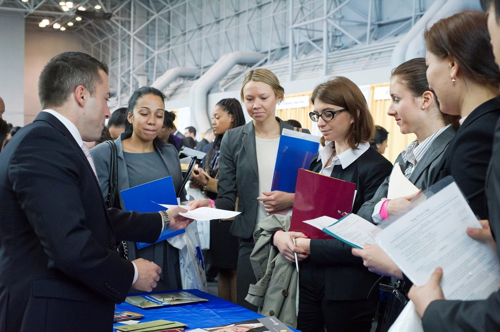 Stock Photo: 1566-1054248 Job seekers attend the CUNY Big Apple Job Fair at the Jacob Javits Convention Center in New York