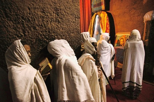 Praying at the Ethiopian Christian Orthodox church of Beta Emmanuel, at Lalibela, Ethiopia : Stock Photo