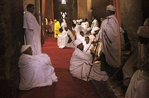 Stock Photo: 1566-1054480 Praying at the Ethiopian Christian Orthodox church of Beta Emmanuel, at Lalibela, Ethiopia