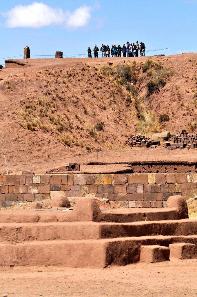Tiwanaku, (Spanish: Tiahuanaco and Tiahuanacu), important Pre-Columbian archaeological site in western Bolivia. : Stock Photo