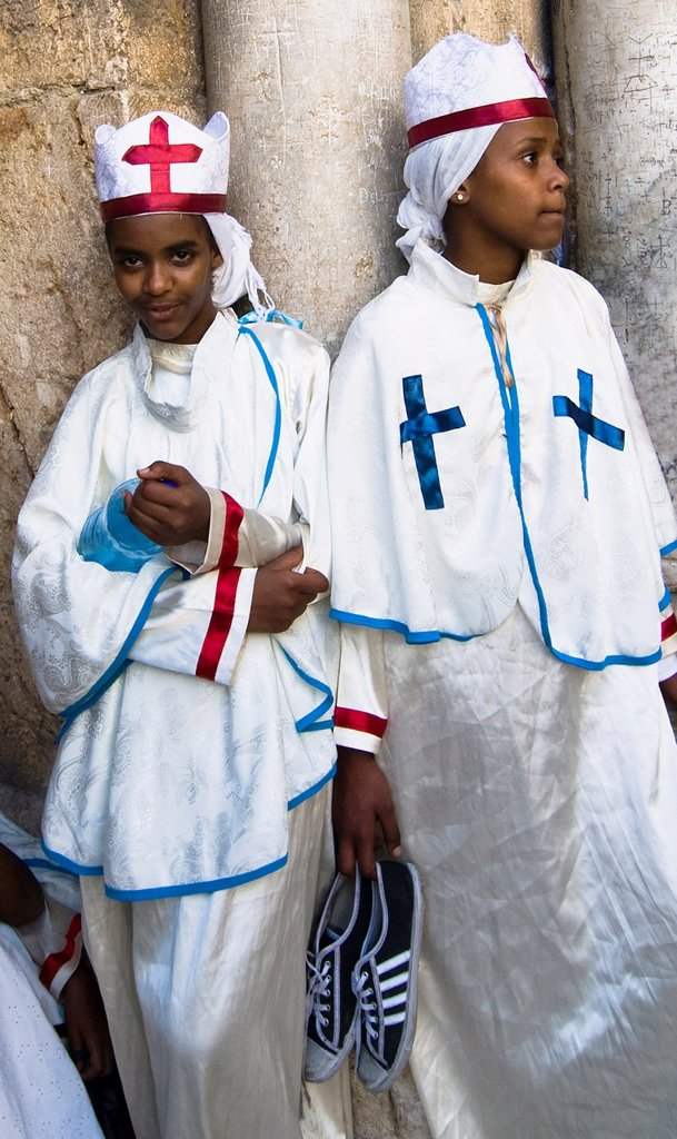 Stock Photo: 1566-1054561 Eritrean orthodox nuns standing by the main gate of the Church of the holy Sepulcher