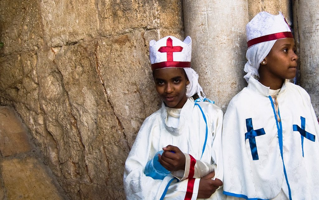 Stock Photo: 1566-1054562 Eritrean orthodox nuns standing by the main gate of the Church of the holy Sepulcher