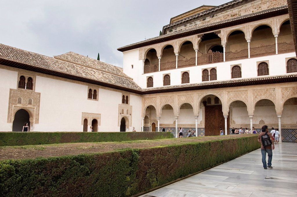Stock Photo: 1566-1054640 Court of the Myrtles, Nazaries Palaces of Alhambra, Granada, Andalusia, Spain, Europe