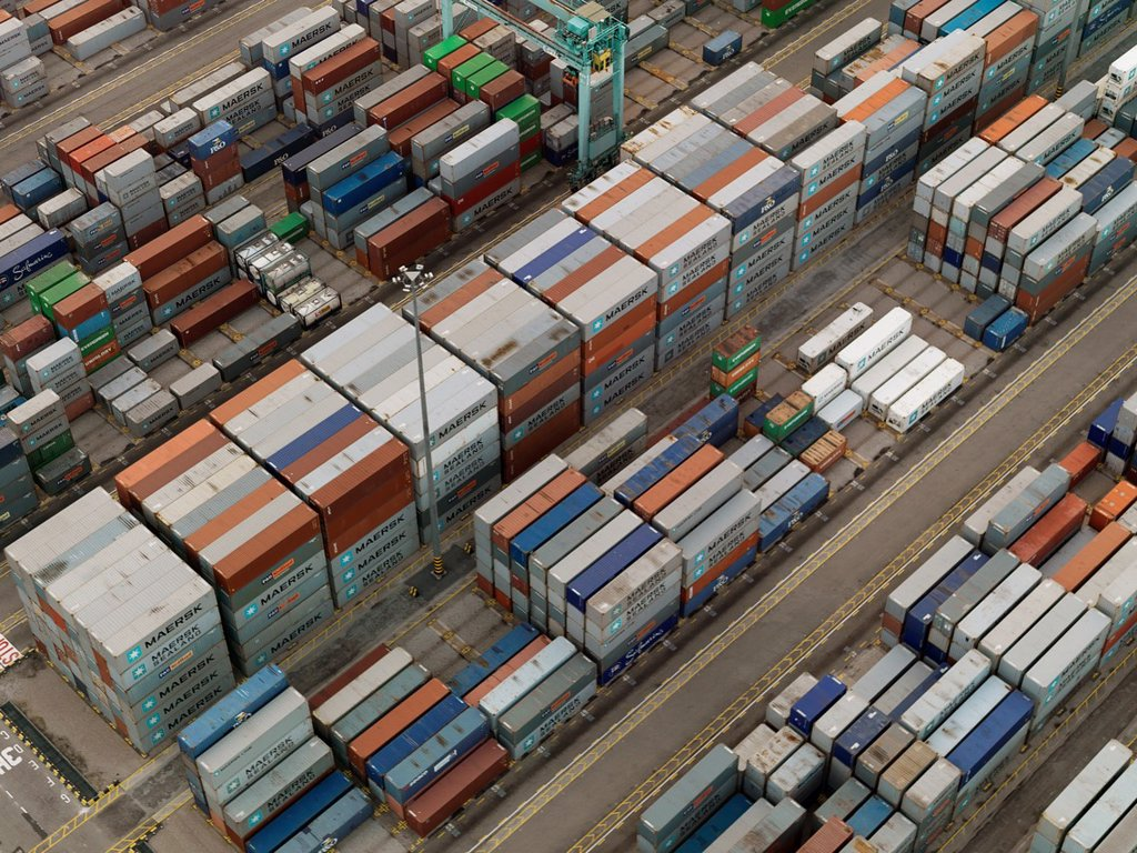 Stock Photo: 1566-1055031 Cargo Containers and freighters at Port of Singapore Authority