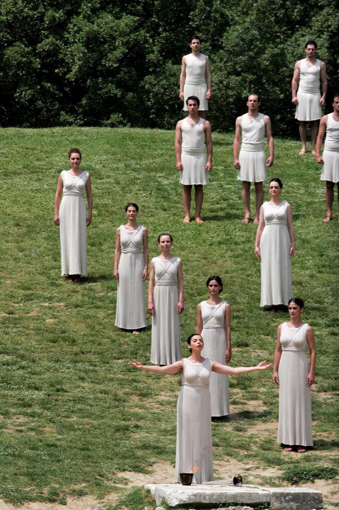 Stock Photo: 1566-1055278 April 10, 2012  Olympia Greece  Actors take part for the torch lighting ceremony of the London 2012 Olympic Games at the site of ancient Olympia
