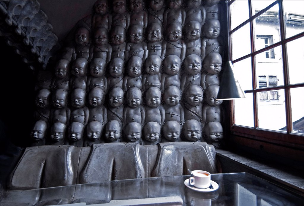 interior of H  R  Giger Museum Bar in Gruyères, bar was designed and built under Giger´s close personal supervision, District Gruyère, Canton of Fribourg, Switzerland : Stock Photo
