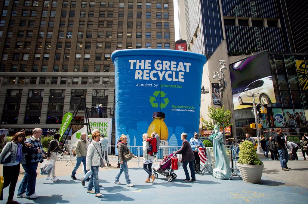 Stock Photo: 1566-1055314 A thirty foot tall inflatable recycling bin part of the launch of The Great Recycle campaign seen in Times Square in New York Items collected will be recycled into garden supplies