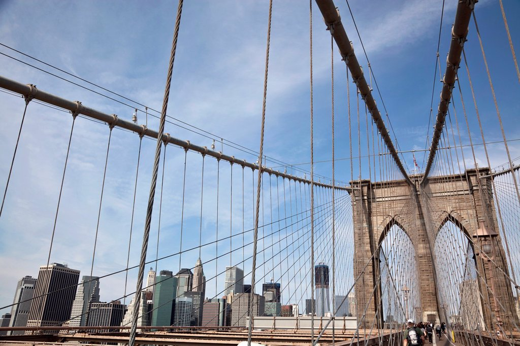 Stock Photo: 1566-1055434 Brooklyn Bridge with Financial District in the background, New York City, United States of America