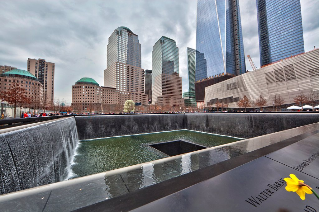 National September 11 Memorial at the World Trade Center site, Manhattan, New York City, United States of America : Stock Photo