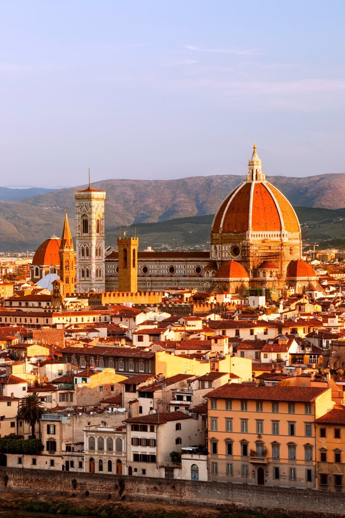 Stock Photo: 1566-1056104 The Duomo - Santa Marie del Fiore viewed from Piazzale Michelangelo, in Florence Tuscany Italy