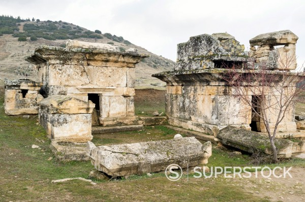 Stock Photo: 1566-1057065 Hellenistic Sarcophagi, ruins of Hierapolis, UNESCO World Heritage Site, Pamukkale, Denizli Province, Turkey
