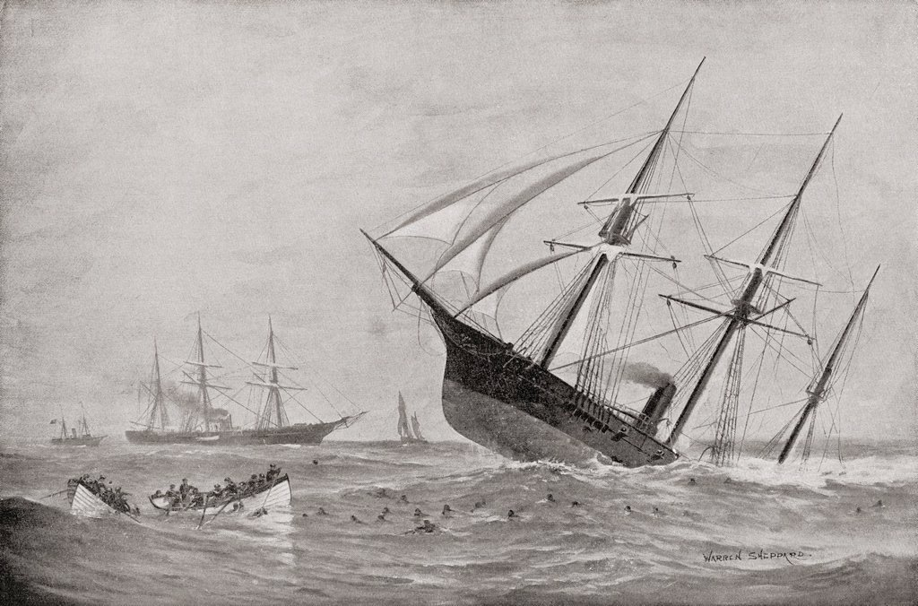 Stock Photo: 1566-1057261 The Sinking of CSS Alabama during the Battle of Cherbourg in 1864  From Famous Men and Great Events of the 19th century