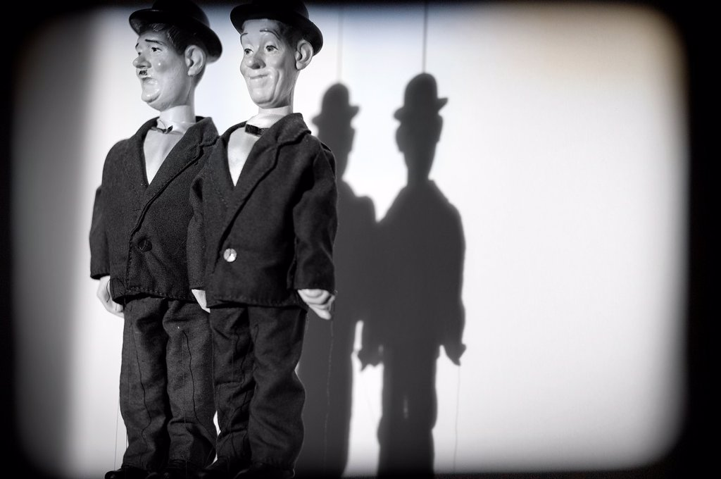 Stock Photo: 1566-1057777 titeres, marionetas, El Gordo y El Flaco, Stan Laurel and Oliver Hardy, comicos, puppets, puppets, El Gordo y El Flaco, Stan Laurel and Oliver Hardy, comics