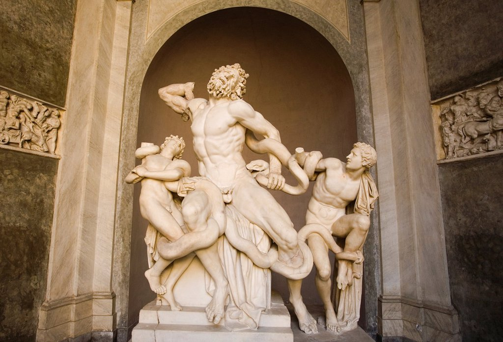 Laocoon and his Sons, Laocoon group, Vatican Museums, Vatican City, Rome, Italy. : Stock Photo