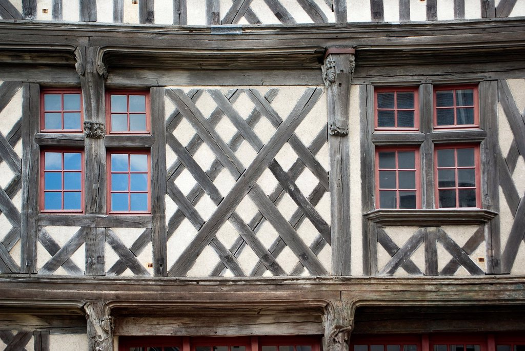 Sample of wall finishings in houses of Chartres, Eure-et-Loir, Centre, France : Stock Photo