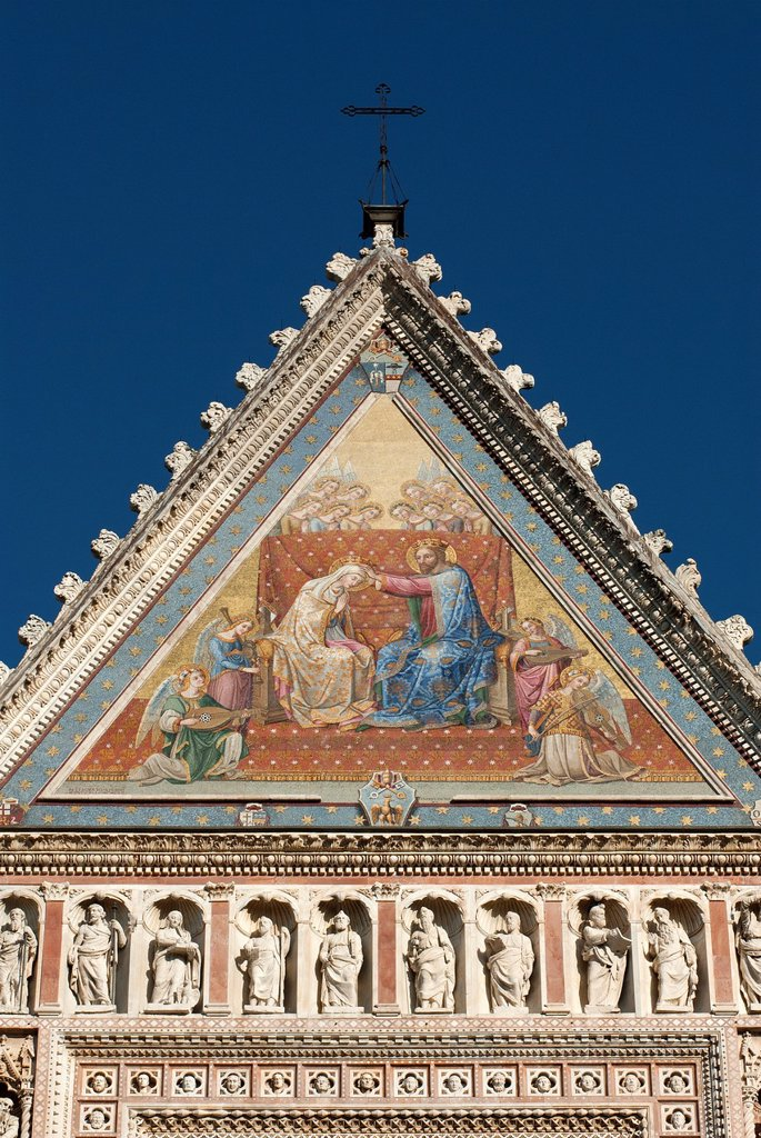 Stock Photo: 1566-1058528 Orvieto Cathedral  Detail of facade  Orvieto  Terni Province  Umbria  Italy