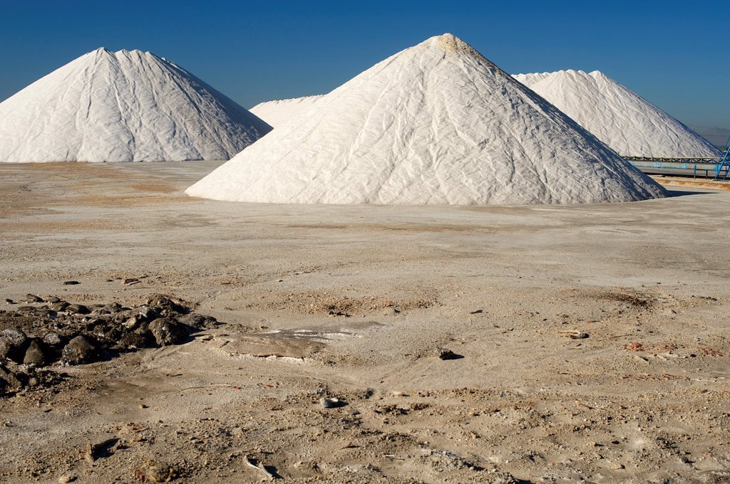 Saltworks, Salinas de Santa Pola Nature Reserve, Santa Pola, Alicante, Spain : Stock Photo