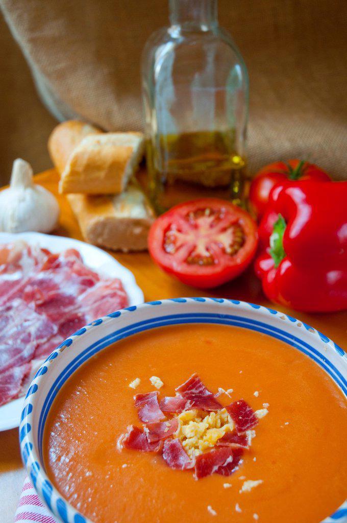 Stock Photo: 1566-1059168 Salmorejo with ingredients. Cordoba, Andalucia, Spain.
