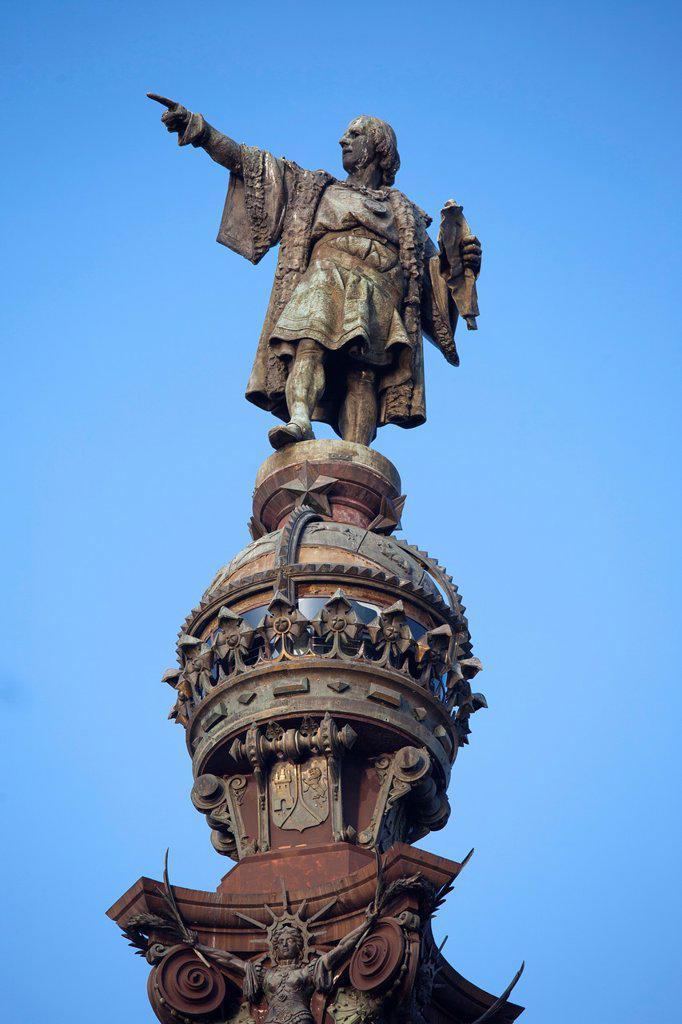 Stock Photo: 1566-1059444 monument to christopher columbus, plaza portal de la pau, barcelona, catalonia, spain, europe