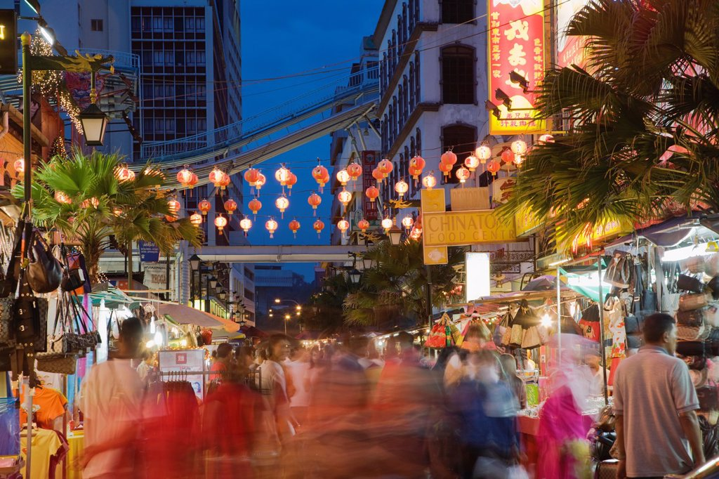 Lanterns hang over open marketplace on Jalan Lekir alongside Jalan Petaling in Chinatown, Kuala Lumpur, Malaysia : Stock Photo