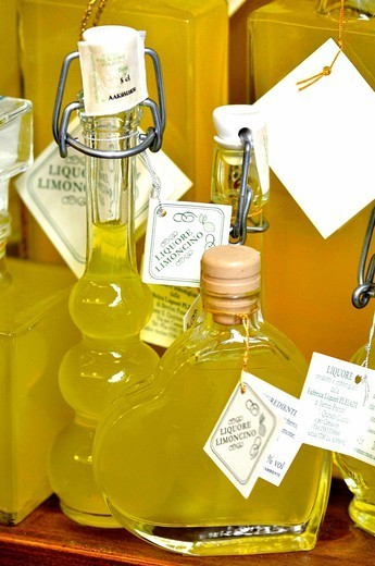 Limoncello liquor bottles for souvenir, Florence, Tuscany, Italy. : Stock Photo