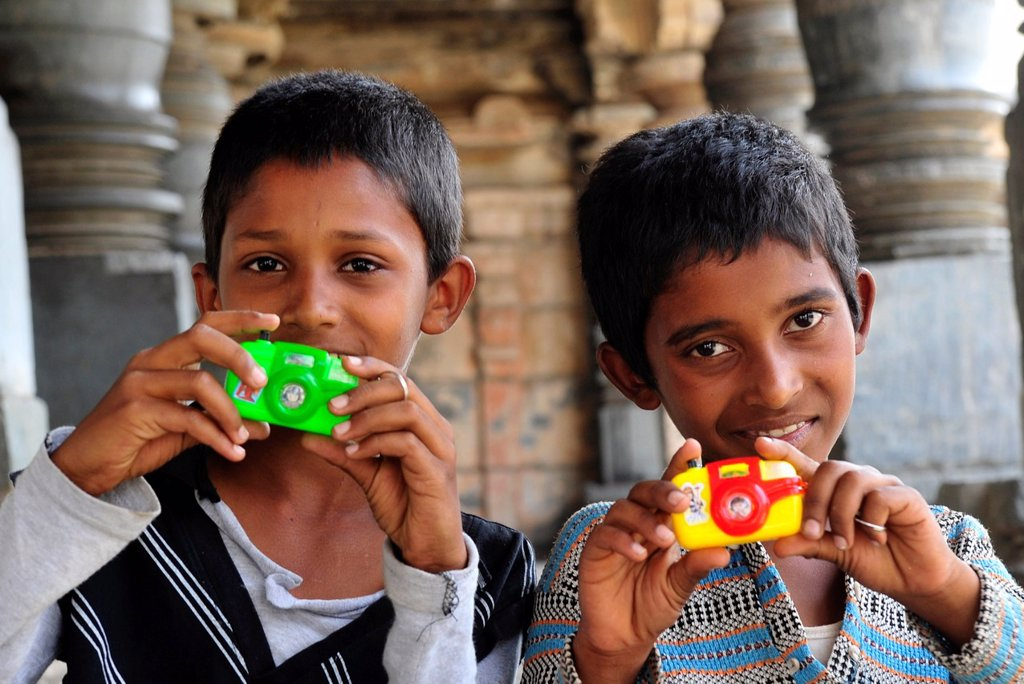Two boys in Belur,Karnataka,South India,India,Asia : Stock Photo