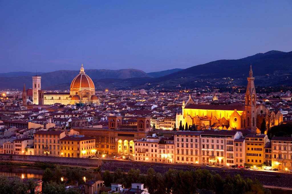 Early morning over Florence with the Duomo and Santa Croce churches, Tuscany Italy : Stock Photo