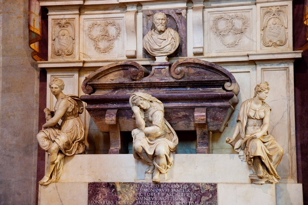 Ornate tomb of Michelangelo inside the church of Santa Croce in Florence Tuscany Italy : Stock Photo