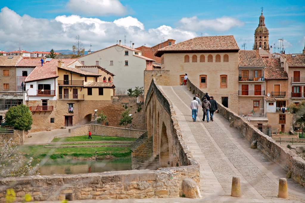 Santiago Way trough Puente La Reina, Navarre, Spain : Stock Photo