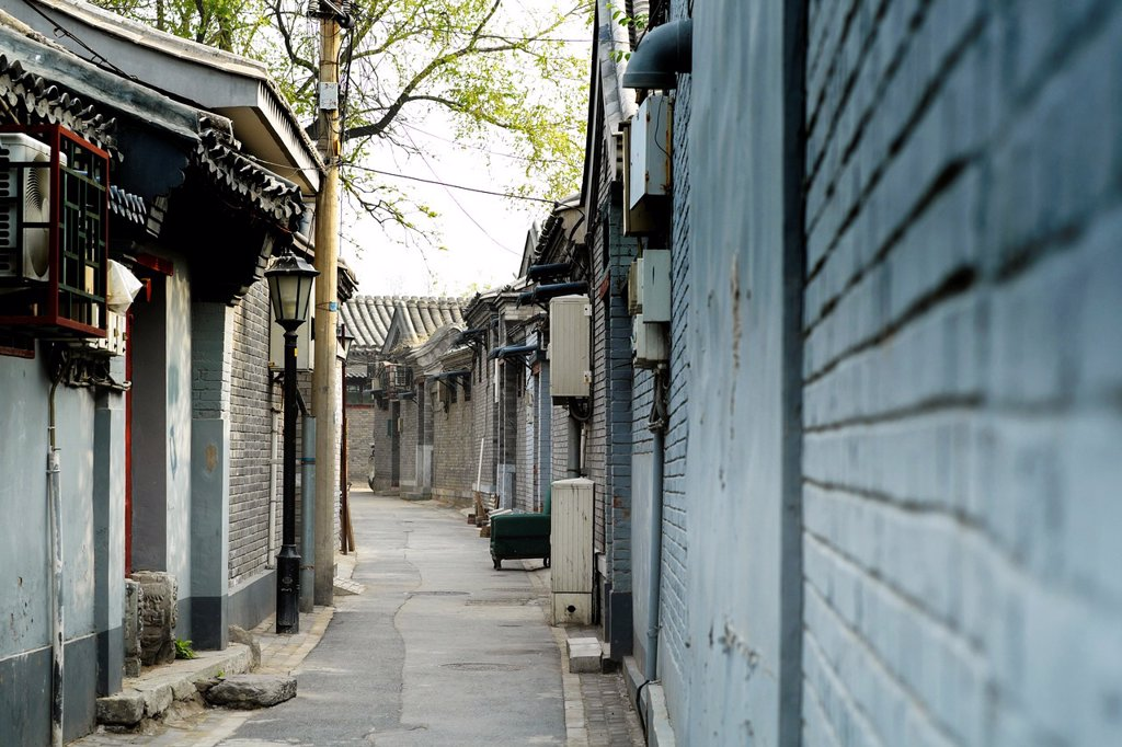 Stock Photo: 1566-1062738 View along traditional old lane or hutong in Beijing China
