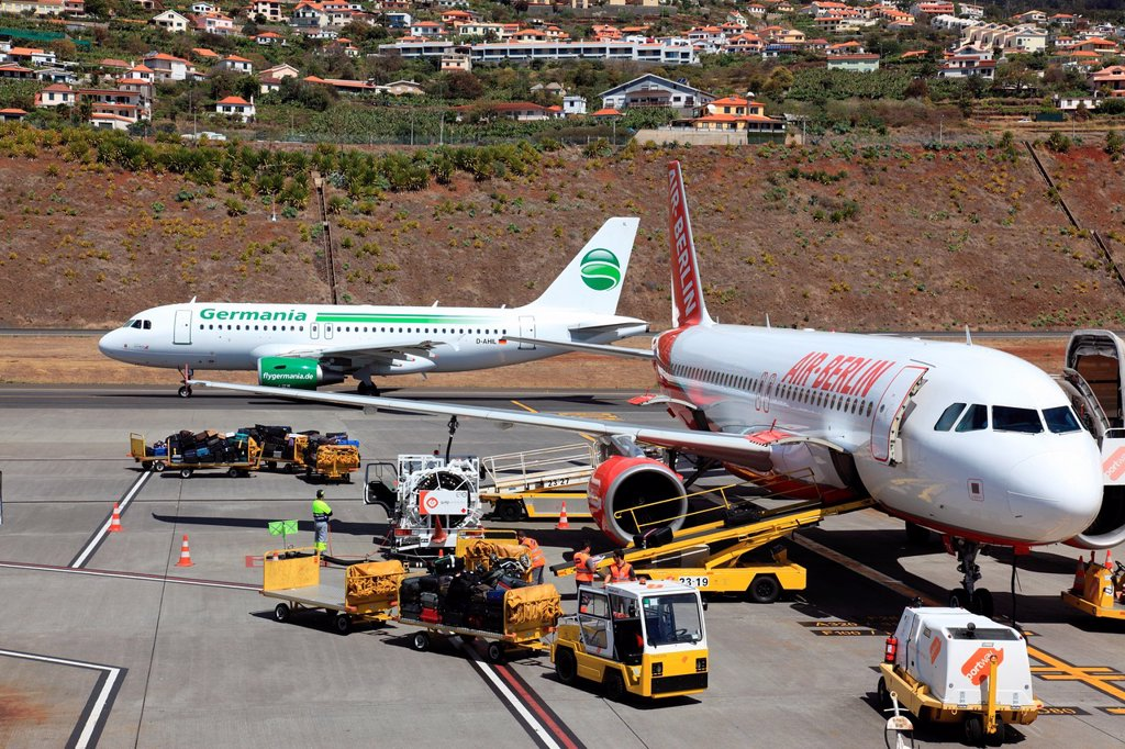 Stock Photo: 1566-1062852 Germania and Air Berlin planes at Funchal Airport, Madeira, Portugal