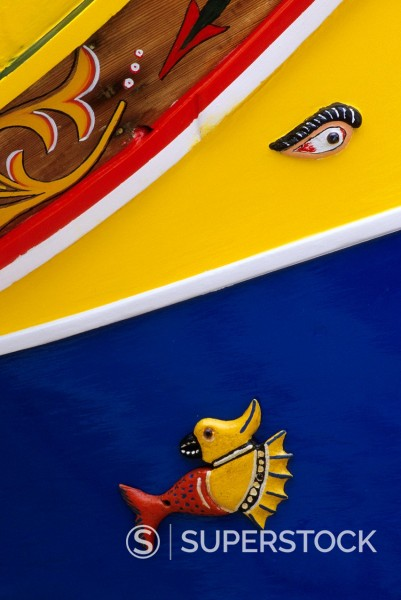 Msida, near Valletta, Malta  Luzzu, Small Boat, with Eye of Osiris and Fish : Stock Photo