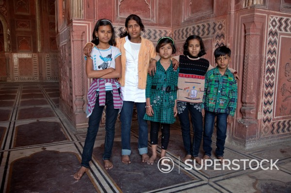 Stock Photo: 1566-1063583 Agra, India  Taj Mahal Mosque  Four Young Indian Girls and One Boy