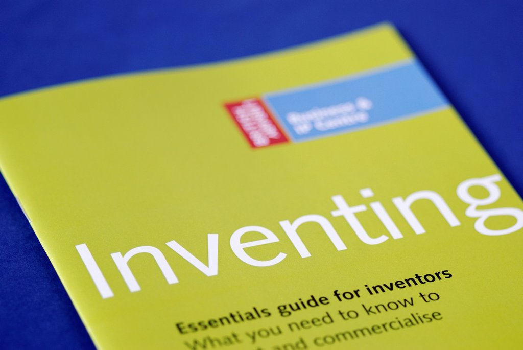 Leaflet about the legal aspects of Inventing : Stock Photo
