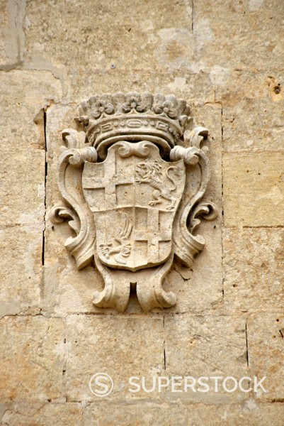 Malta  Coat of Arms on Country Church, northwest Malta : Stock Photo