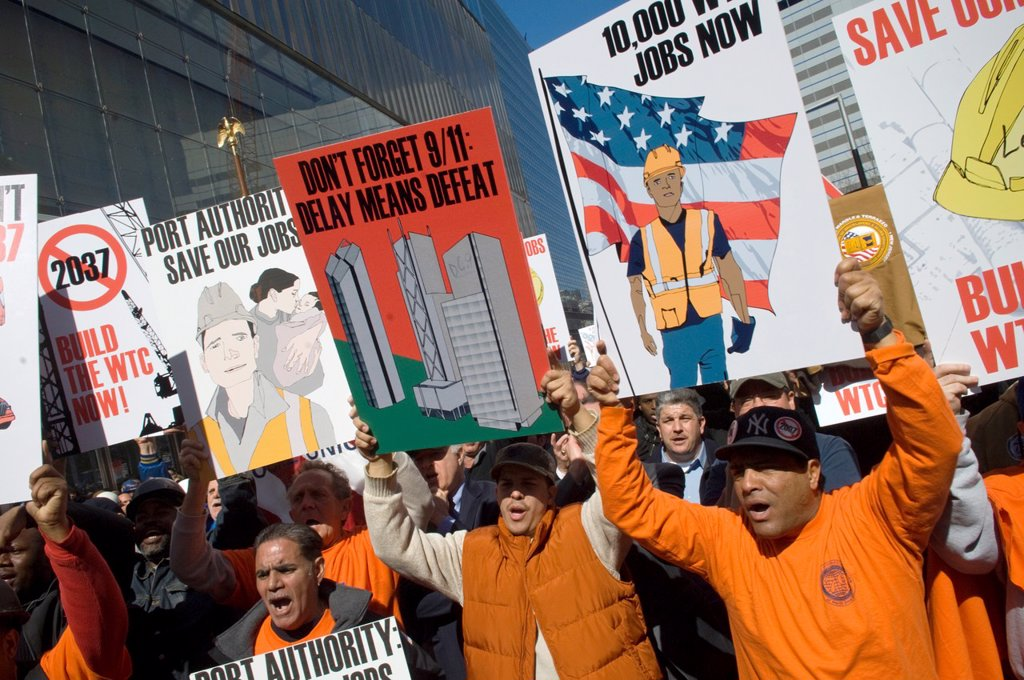 Stock Photo: 1566-1063848 Construction workers rally at Ground Zero in front of 7 World Trade Center in New York Construction workers, joined by elected officials and community leaders, called for speeding up the construction at the site of the World Trade Center