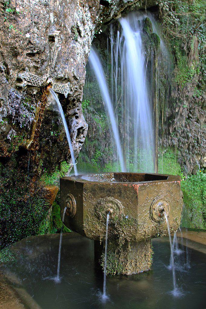 Stock Photo: 1566-1064116 Fuente de los siete caños, Covadonga Virgin, Asturias, Spain