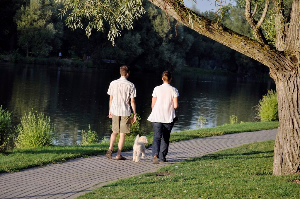 Stock Photo: 1566-1064367 A couple and a dog stroll along the Avon River in Stratford, Ontario, Canada where a famous Shakespeare festival is held every year