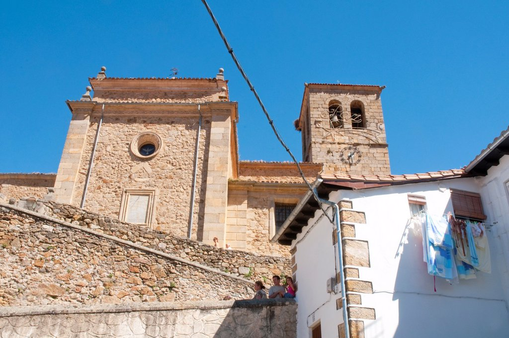 Santa Maria church. Hervas, Caceres province, Extremadura, Spain. : Stock Photo