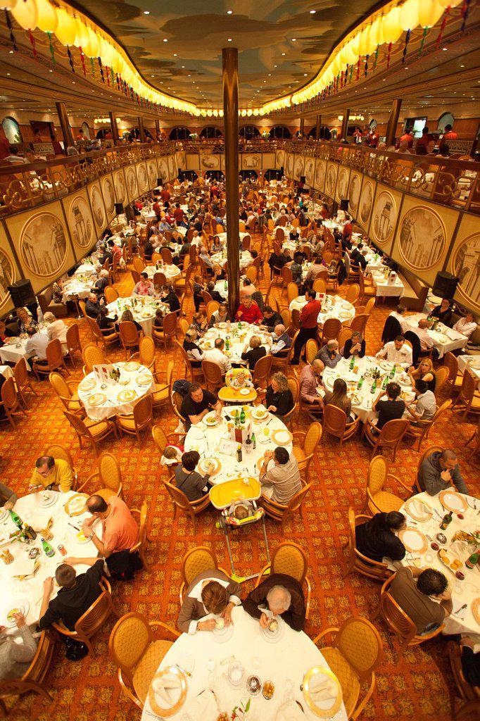 dining room, cruise ship, costa mediterranea, costa crociere cruise line : Stock Photo