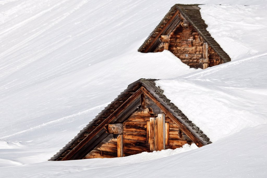 Stock Photo: 1566-1065865 Old Houses Trapped By a Snow Storm, Switzerland