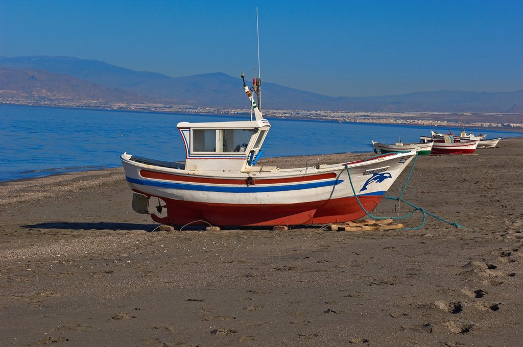 San Miguel de Cabo de Gata, Fishing boat, Beach, Cabo de Gata-Nijar Natural Park, Almeria, Spain, Europe : Stock Photo