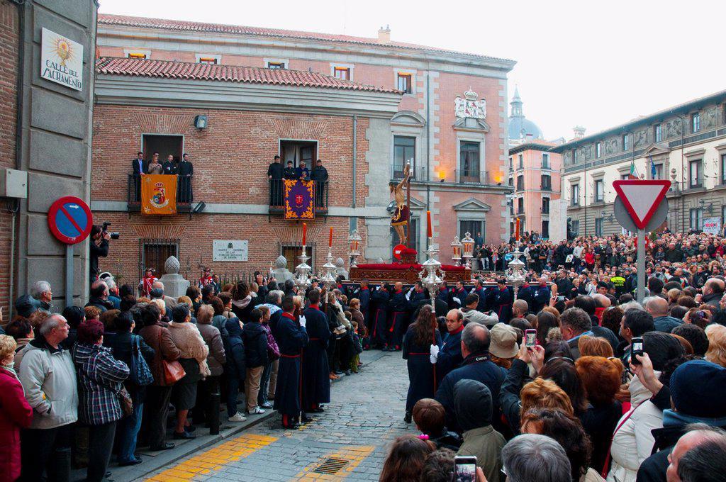 Stock Photo: 1566-1066909 Halberdier´s Christ procession. Sacramento street, Madrid, Spain.